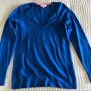 Lilly Pulitzer V-Neck Pullover Sweater Large Blue